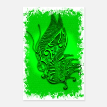 Concert music butterfly green - Poster 24x36