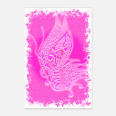 Festival music butterfly pink - Poster 24x36