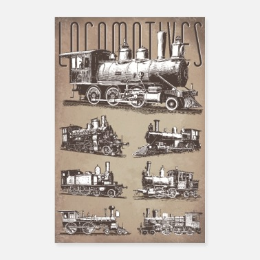 Locomotives Papier Vintage - Poster