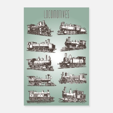 Locomotive Locomotives vintage paper - Poster