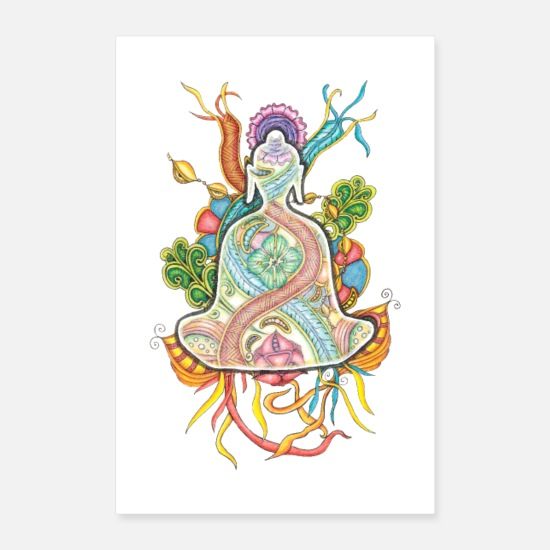 Meditation Posters - Tranzending Buddha in rainbow colours - Posters white
