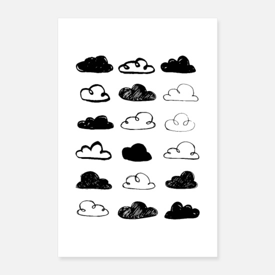Black And White Posters - Black and White Clouds Nursery - Posters white