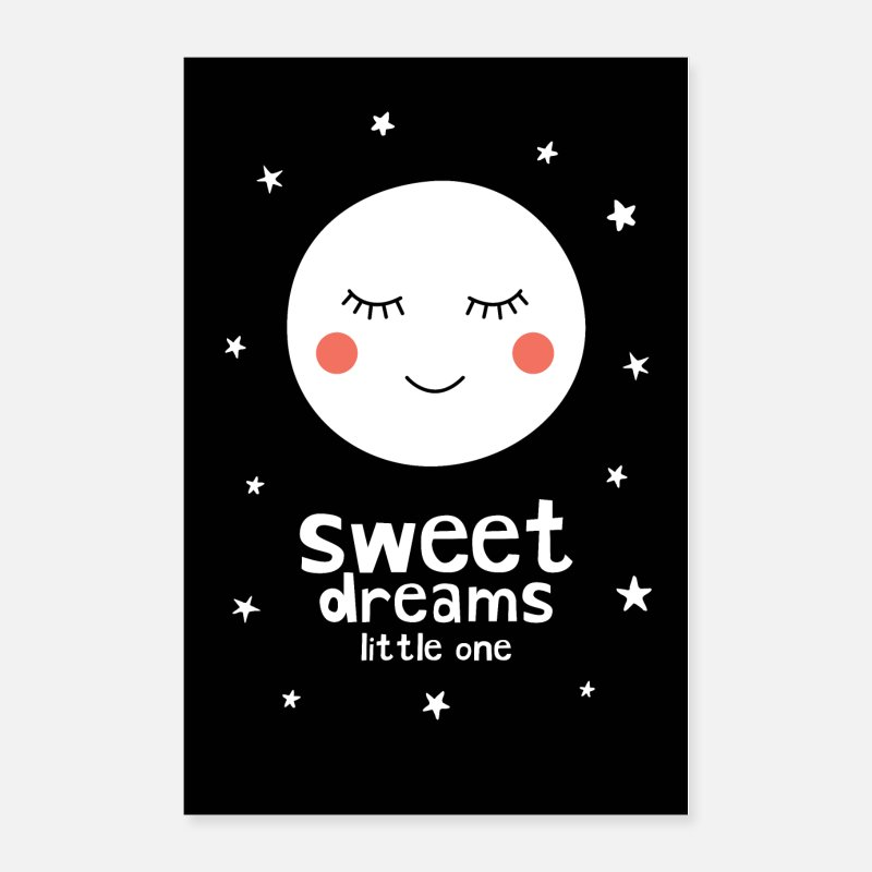 Baby Shower Posters - Sleepy Moon - Sweet Dreams Little One - Posters white