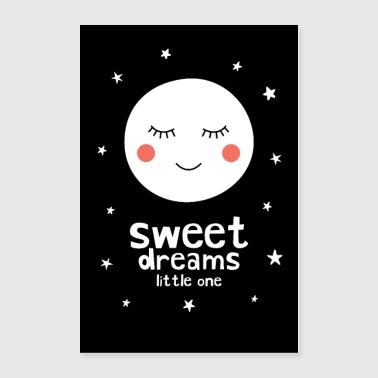 Toddler Sleepy Moon - Sweet Dreams Little One - Poster 24x36