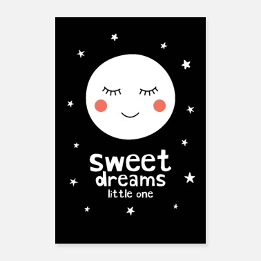 Black And White Collection Sleepy Moon - Sweet Dreams Little One - Poster