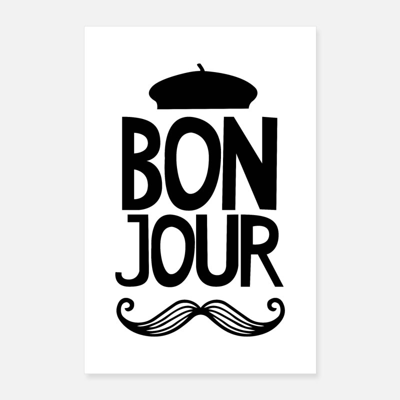Black And White Posters - Bonjour Mustache - Nursery - Posters white