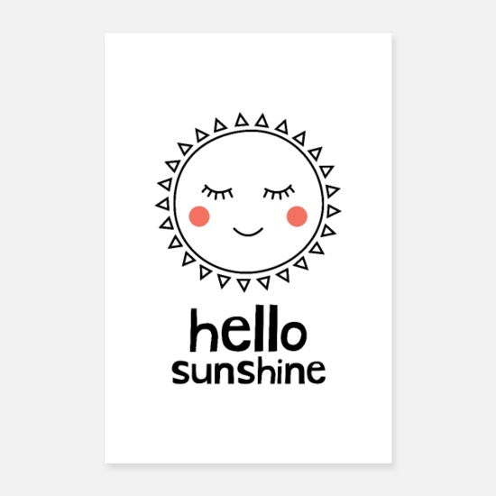 Typography Posters - Hello Sunshine - Posters white