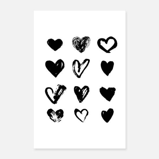Black And White Posters - Black Hearts - Paint - Posters white