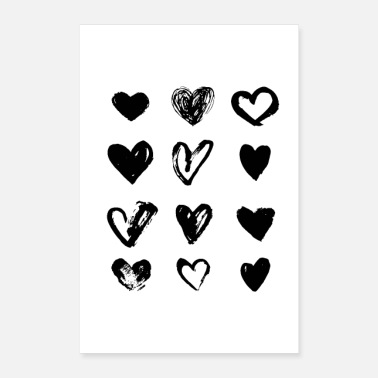Valentine's Day Black Hearts - Paint - Poster