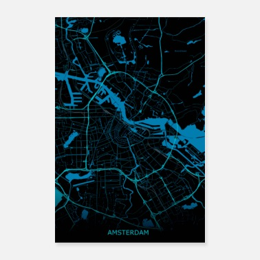 Holland Amsterdam Netherlands Road Map - Poster