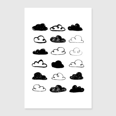 Black and White Clouds Nursery - Poster 24x36