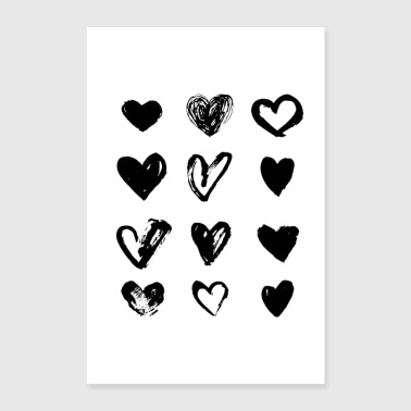 Black Hearts - Paint - Poster 24x36