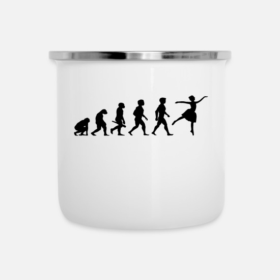 Jumpstyle Mugs & Drinkware - Evolution Ballerina Ballet Dance Dancing Dancer - Enamel Mug white