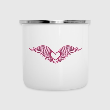 Heart With Wings Filigree heart with wings. Winged heart. - Camper Mug