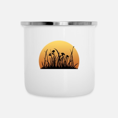 Meadow Sunset behind the meadow with the flowers - Camper Mug