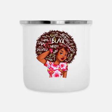 Black Afro Word Art Natural Hair - Camper Mug