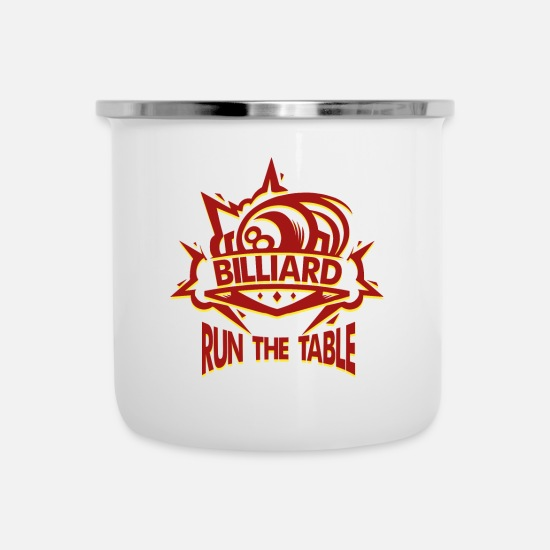 Gift Idea Mugs & Drinkware - BILLIARD - RUN THE TABLE / Sports Design Pool - Enamel Mug white