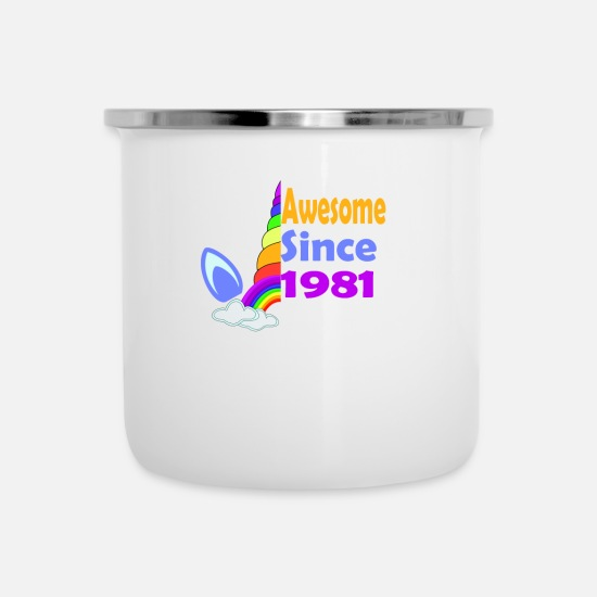 Birthday Mugs & Drinkware - Awesome Since 1981 Funny 38th Birthday Unicorn - Enamel Mug white