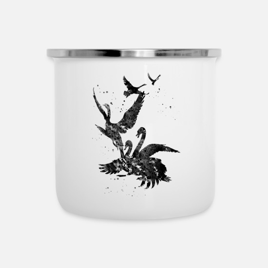 Art Mugs & Drinkware - Flying swans - Enamel Mug white