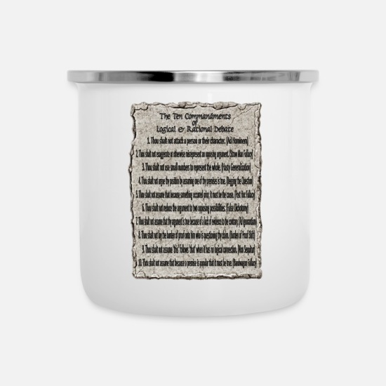 Debate Mugs & Drinkware - Commandments Of Debate - Enamel Mug white