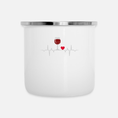 Buy Wine Heartbeat Love Drink Alcohol T-Shirt - Enamel Mug