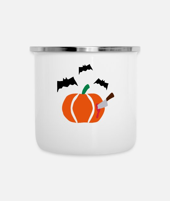 October Mugs & Cups - Halloween Pumpkin with bats - Enamel Mug white