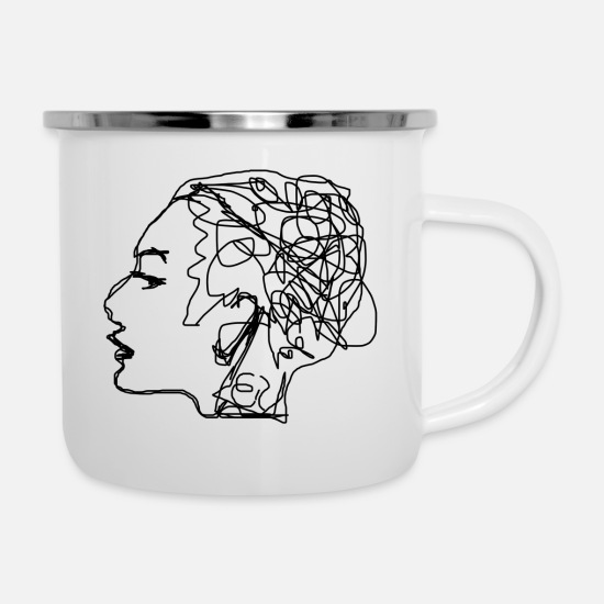 Draw Mugs & Drinkware - Woman - Enamel Mug white