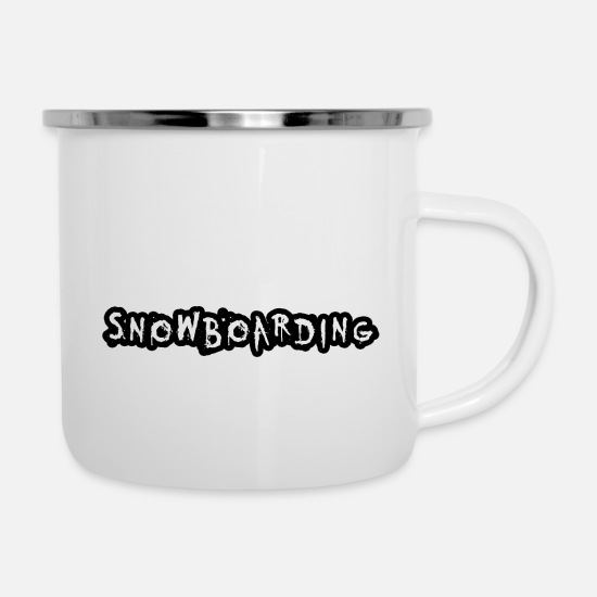 Mountains Mugs & Drinkware - Snowboarding - Enamel Mug white