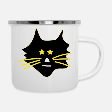 Asterisk Cute cat with asterisks - Enamel Mug