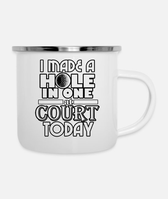 Occupation Mugs & Cups - Hole in One Court - Enamel Mug white