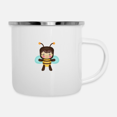 Fly Bee flows, bees design gift idea - Enamel Mug
