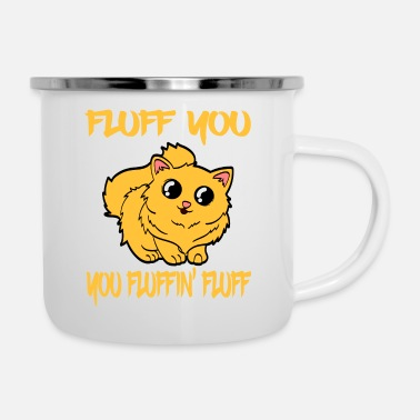Lol A Cute Kitty Tee For Cat Lovers Saying Fluff You - Enamel Mug