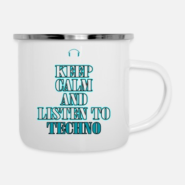 Skull A Techno Tee For Music Lovers Saying Keep Calm - Enamel Mug