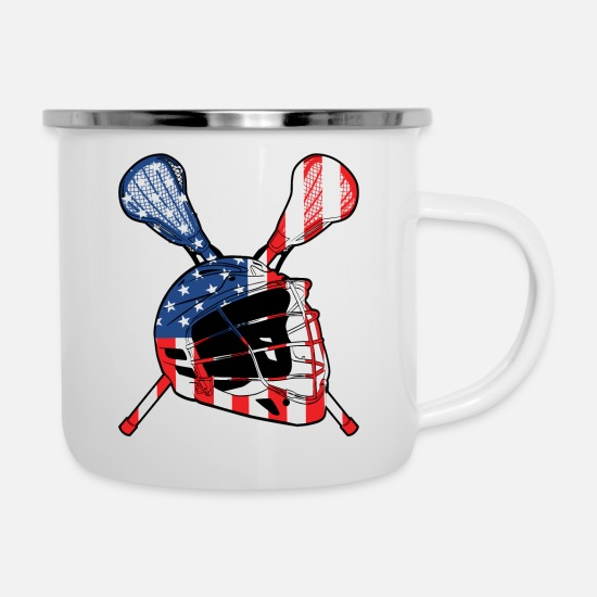Lacrosse Mugs & Drinkware - A Sports Tee For Sporty You With An Illustration - Enamel Mug white