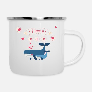 I Love & i love you mom whale - Enamel Mug