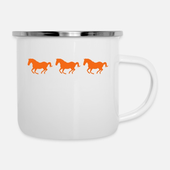 Competition Mugs & Drinkware - Three Horses Galloping - Enamel Mug white
