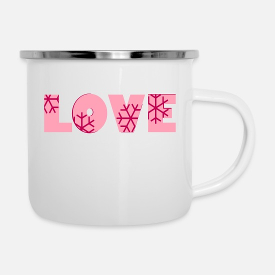 Best-Romantic-Valentines-Day-Design-Gifts Mugs & Drinkware - ❅❤✦°•Crystal Love-Frozen Love-Romantic Typography - Enamel Mug white
