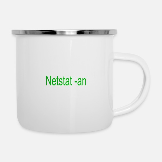 Coder Mugs & Drinkware - Netstat -an - Enamel Mug white