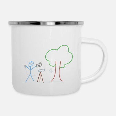 Equal Rights Photographer Stick Figure, Artist Camera Pictures - Enamel Mug