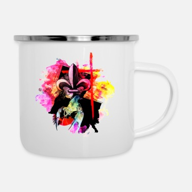 Louisiana watercolor fleur de lis cross crawfish - Camper Mug