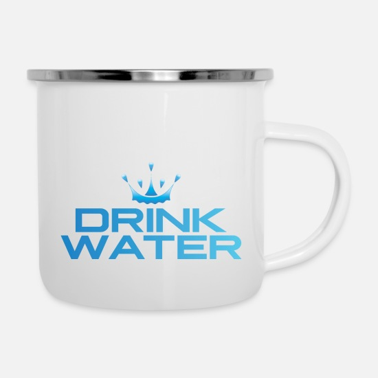 Water Mugs & Drinkware - DRINK WATER 2 - Enamel Mug white