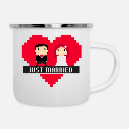 8 Bit Pixel Just Married Marriage Camper Mug White