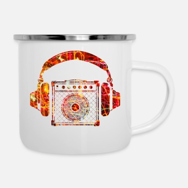 I Love &amp Amplifier with Headphones Music Design - Enamel Mug
