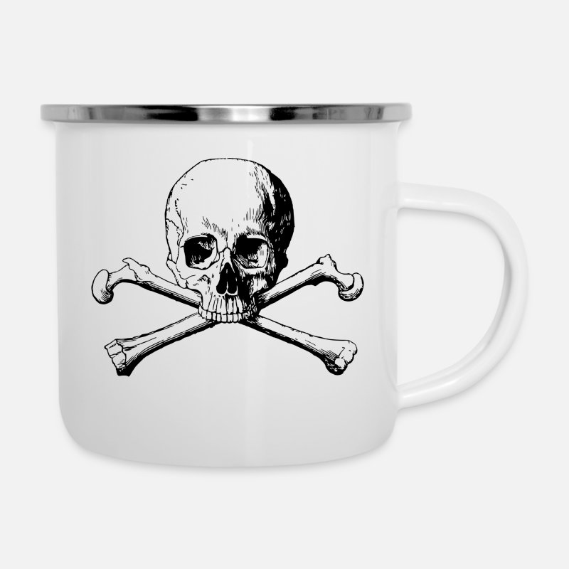 Skull Mugs & Drinkware - SKULL AND CROSSBONES - Enamel Mug white