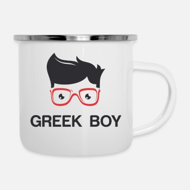 Greek Letters Greek Boy - Enamel Mug