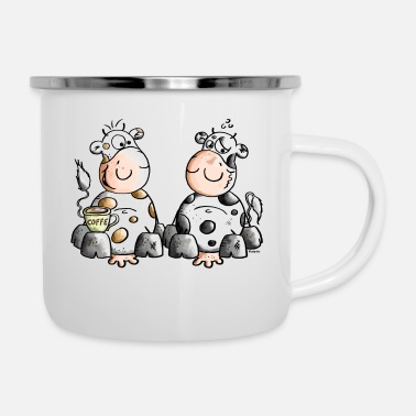 Cuppa Coffee Cute Cows - Cow - Coffee - Enamel Mug