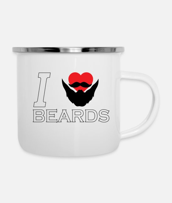 Heart Mugs & Cups - I Heart Beards - Enamel Mug white