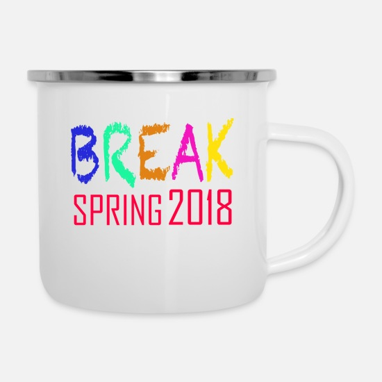 Break Dance Mugs & Drinkware - Spring Break 2018 - Enamel Mug white