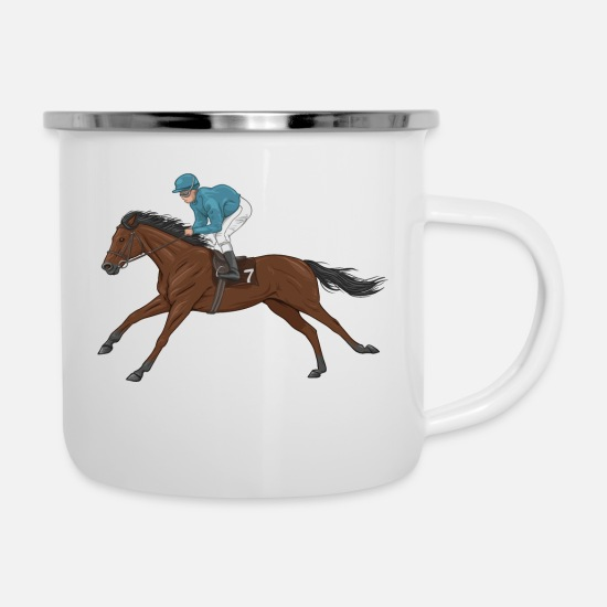 Horse Mugs & Drinkware - bay horse and jockey - Enamel Mug white