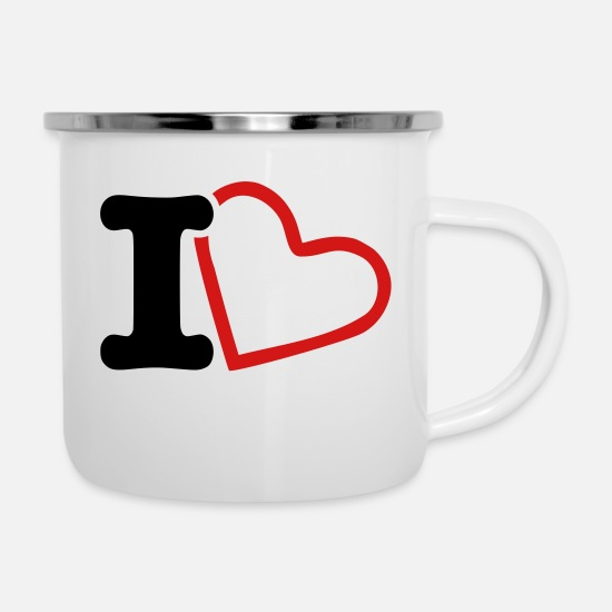 Love Mugs & Drinkware - I Heart and I Love - Enamel Mug white
